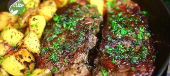 با این دستور به راحتی در خانه استیک گوشت در تابه درست کنید!