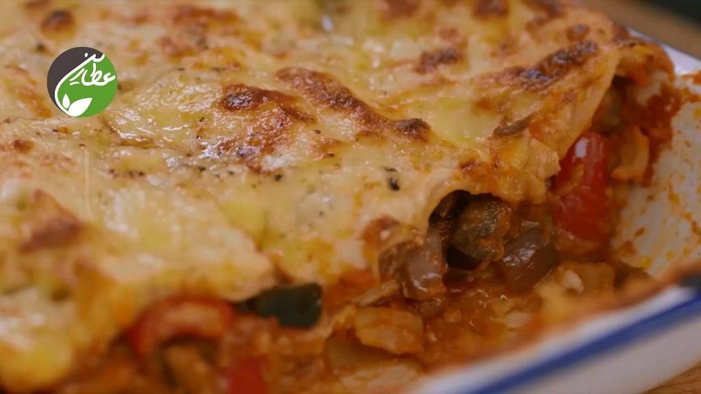 طرز تهیه لازانیا برای گیاهخواران با سبزیجات تازه