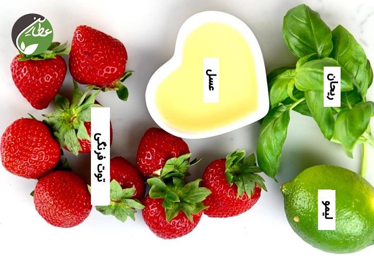 مواد لازم برای شربت توت فرنگی